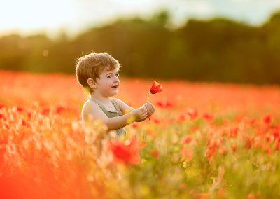Boy in a poppy field on a family photoshoot in Barnsley