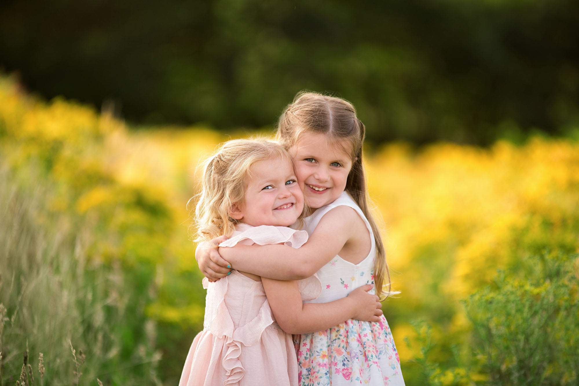 Barnsley photographer, yellow flower sister shoot