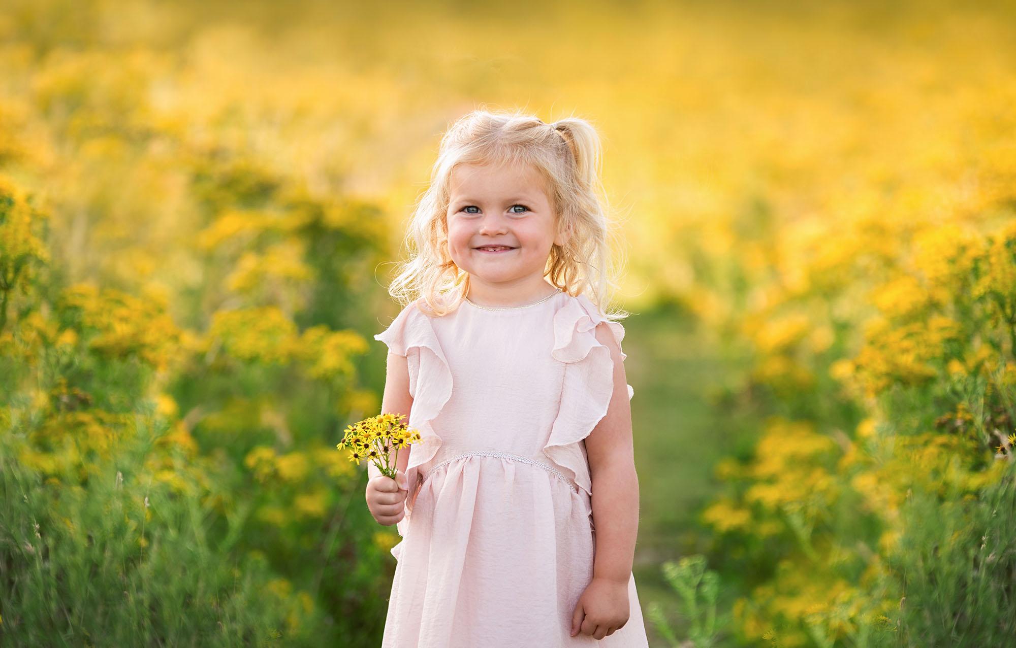 Photographer Barnsley, little girl in yellow flowers
