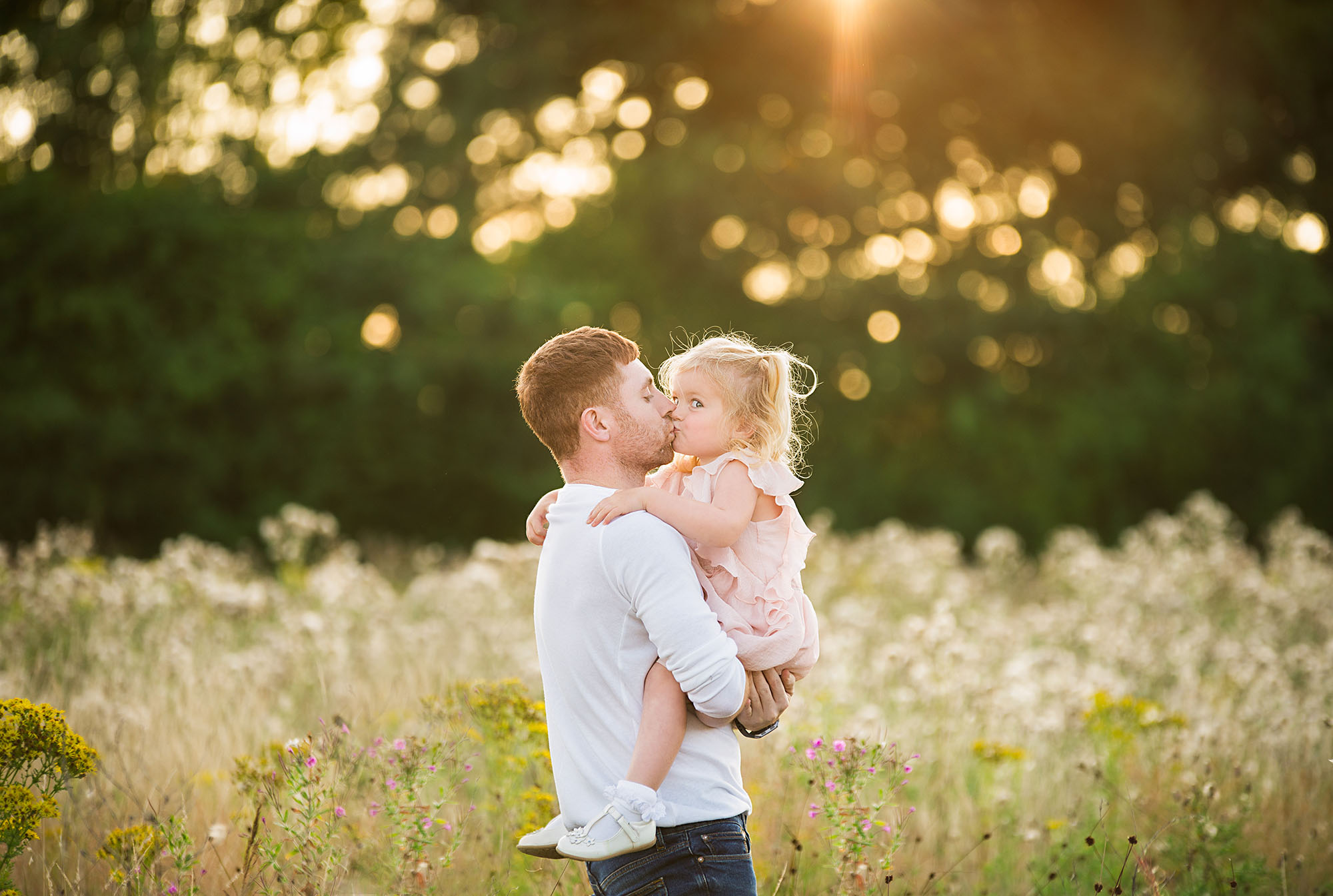 Photographer Barnsley, daddy and me photoshoot in wild flowers