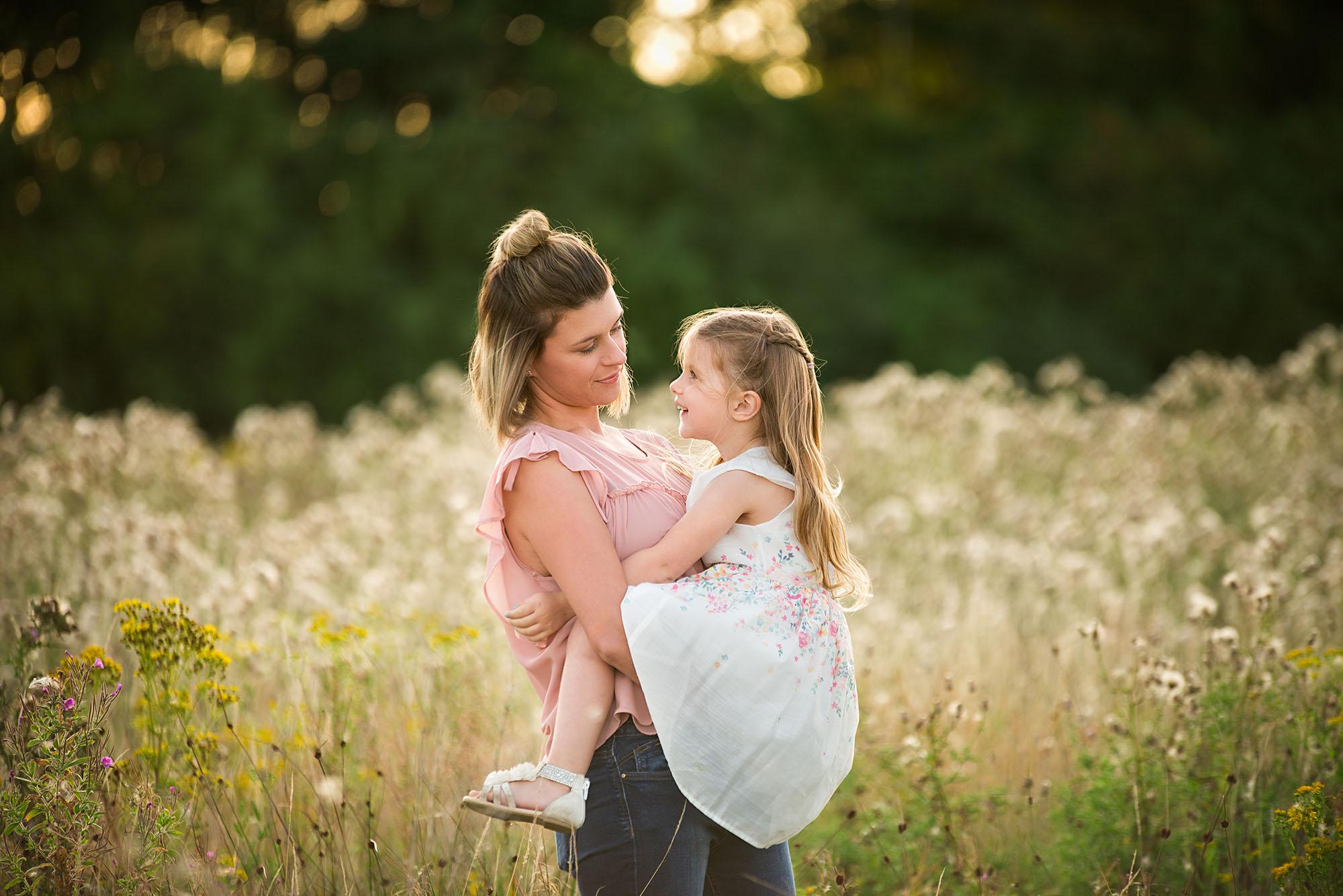 Barnsley photographer, mum and daughter sunset summer photoshoot