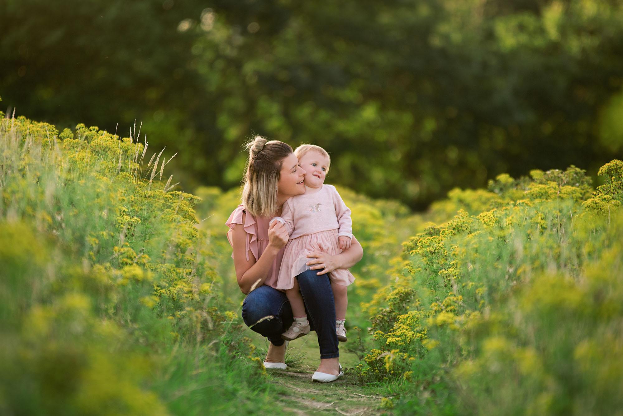 Photographer Barnsley, mummy and me in yellow wild flowers photoshoot