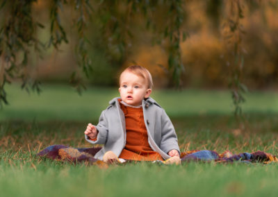 Baby in a gorgeous setting on a family autumn photoshoot in Barnsley