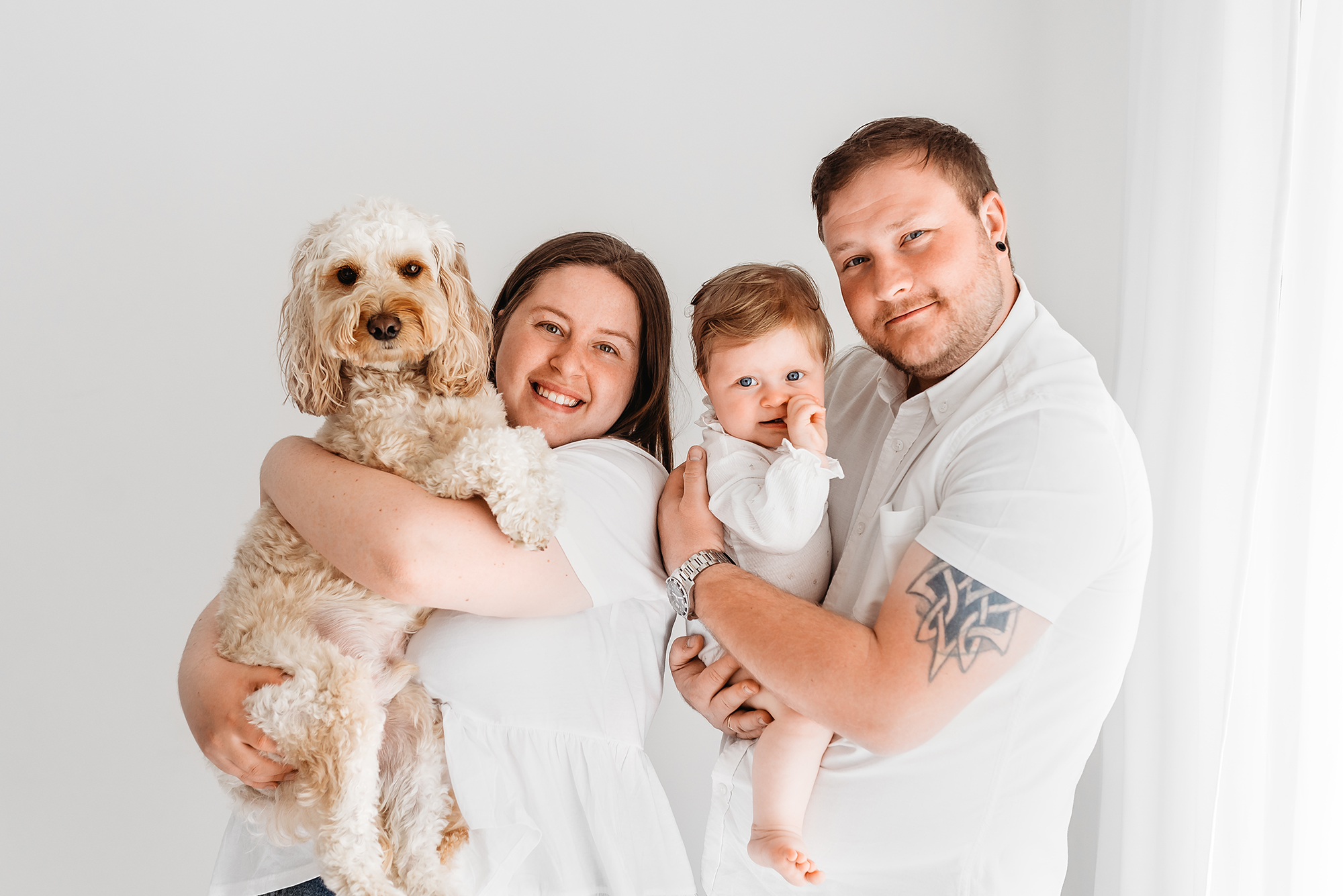 baby photographer Barnsley, family photo with dog